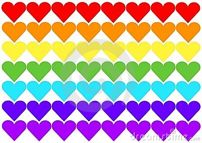Rainbow flag hearts
