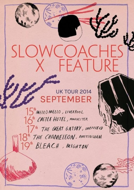 Feature x Slowcoaches tour poster